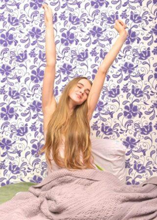 両手を上に上げ、伸びをするね起きの女性